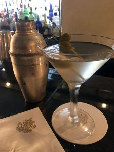 a martini on the bar at the pierre hotel.