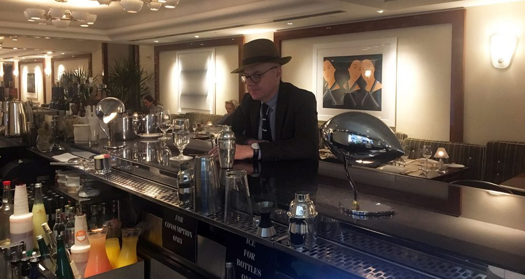 the author sitting at the bar at the pierre hotel