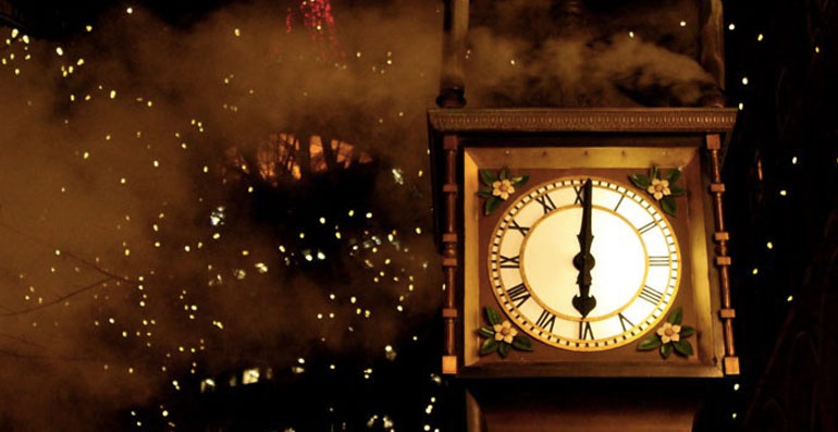 Steam clock face showing 6pm